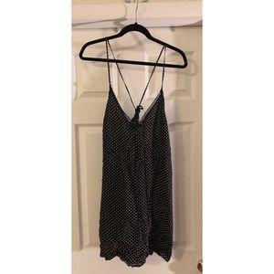 Black and white polka dot slip dress